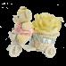 Велосипед с одной крупной розой и мишкой