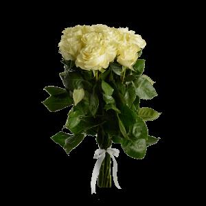 Букет из 15 белых роз (90 см) с атласной лентой