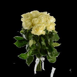 Букет из 11 белых роз (90 см) с атласной лентой