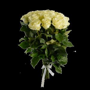 Букет из 17 белых роз (90 см) с атласной лентой