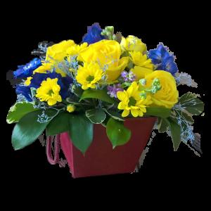 Цветы в коробочке с жёлтой розой