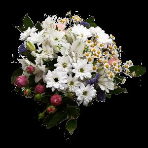 Букет из хризантемы кустовой, кустовой розы, ромашки, альстермерии и эустомы