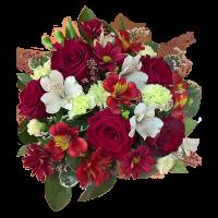 Цветы в коробочке с красной розой