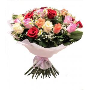 Букет из 35 красной и цветной розы (70см)