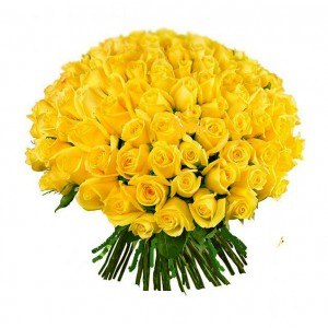 Букет из 101 желтой желтой розы (50 см)